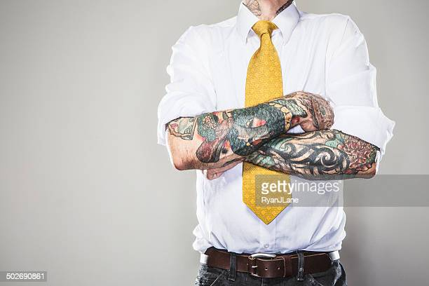 new professional with tattoos - tattoo stock pictures, royalty-free photos & images
