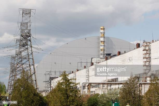 New protective shelter over the nuclear reactor Unit 4 at Chernobyl nuclear power plant is seen during the 32st anniversary of Chernobyl nuclear...