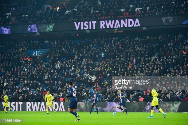 New PSG sponsor Visit Rwanda during the Ligue 1 match between Paris Saint-Germain and FC Nantes at Parc des Princes on December 4, 2019 in Paris,...