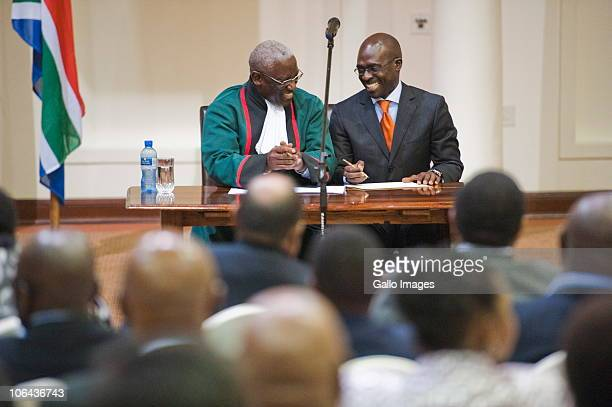 New Public Enterprises Minister Malusi Gigaba as New South African ministers and deputy ministers are sworn in at the Presidential guesthouse in...