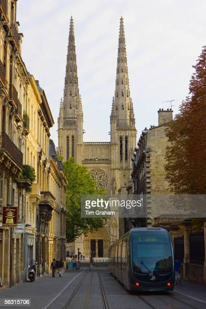New public transport tram system by St Andre Cathedral Bordeaux France