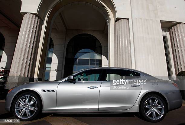 A new Quattroporte V8 automobile produced by Maserati the luxuryauto maker owned by Fiat SpA stands on display during it's debut in Nice France on...