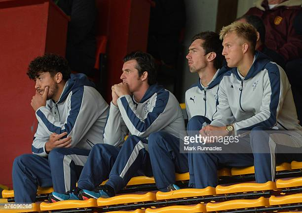 New Rangers signing Joey Barton , watches on from the stand during the Scottish League Cup First Round match between Motherwell FC and Rangers FC at...
