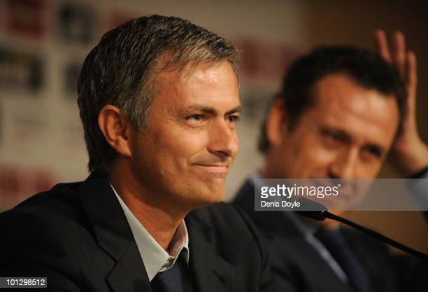 New Real Madrid head coach Jose Mourinho of Portugal holds a press conference at the Santiago Bernabeu stadium on May 31 2010 in Madrid Spain