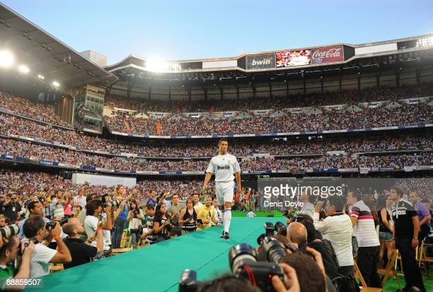 New Real Madrid player Cristiano Ronaldo is presented to a full house at the Santiago Bernabeu stadium on July 6 2009 in Madrid Spain
