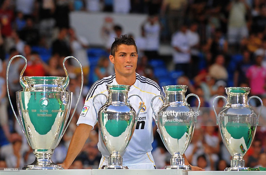 New Real Madrid player Cristiano Ronaldo is presented to a full house at the Santiago Bernabeu stadium on July 6, 2009 in Madrid, Spain.