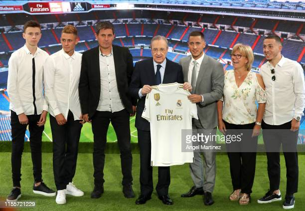 New Real Madrid signing Eden Hazard is unveiled by Real Madrid President Florentino Pérez alongside his family at Estadio Santiago Bernabeu on June...