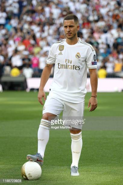 New Real Madrid signing Eden Hazard performs as he is unveiled at Estadio Santiago Bernabeu on June 13 2019 in Madrid Spain