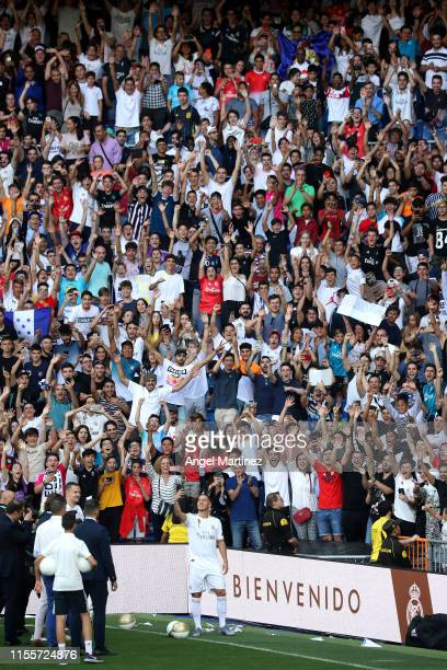 New Real Madrid signing Eden Hazard shows appreciation to the fans as he is unveiled at Estadio Santiago Bernabeu on June 13 2019 in Madrid Spain