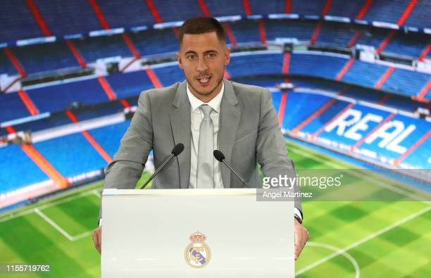 New Real Madrid signing Eden Hazard speaks during his unveiling at Estadio Santiago Bernabeu on June 13, 2019 in Madrid, Spain.