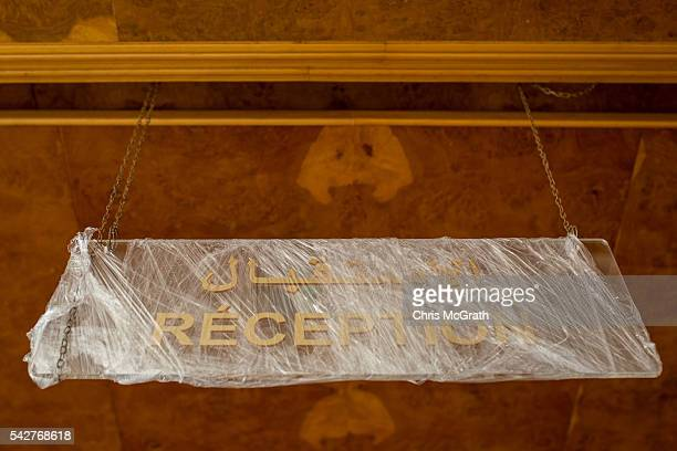 A new reception sign is seen wrapped in plastic at the closed Imperial Marhaba Hotel on June 24 2016 in Sousse Tunisia The Imperial Marhaba hotel was...