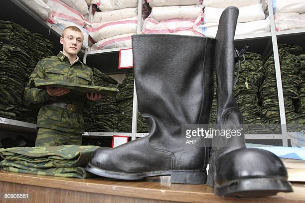 New recruit into the Russian Presidential regiment in St. Petersburg receives his army clothes on April 29, 2008. In addition to the usual army...