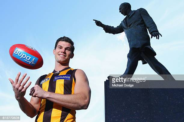 New recruit Jaeger O'Meara poses during a Hawthorn Hawks AFL media opportunity at Waverley Park on October 20 2016 in Melbourne Australia