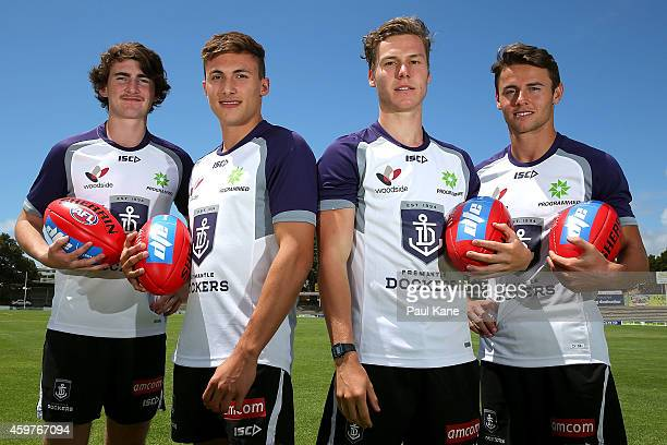 New recruits Connor Blakely Josh Deluca Ed Langdon and Lachlan Weller of pose for for a photo following a Fremantle Dockers AFL media session at...
