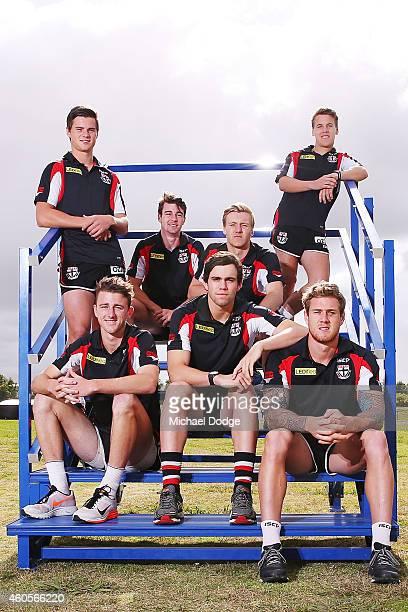 New recruits Jack Sinclair Daniel McKenzie Hugh Goddard and Jack Lonie pose with Brenton Payne Paddy McCartin and Tim Membrey during a St Kilda...