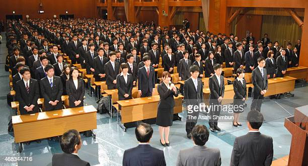 New recruits of Mazda Motor Co attend the welcome ceremony on April 1 2015 in Fuchu Hiroshima Japan Japan's new fiscal and school years start on...