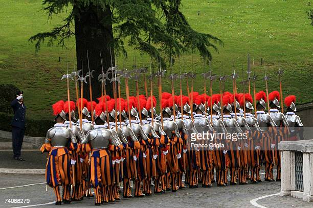 New recruits of the Vatican's elite Swiss Guard march at the swearing in ceremony for new members on May 6 2007 in Vatican City The swearing in...