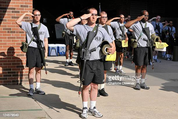 New recruits take part in during an afternoon drill at Fort Jackson in South Carolina