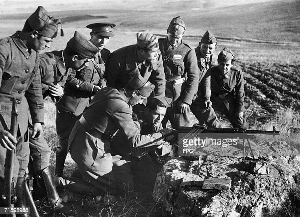 New recruits to Franco's Nationalist army being trained in the handling of machine guns during the Spanish Civil War 16th December 1936