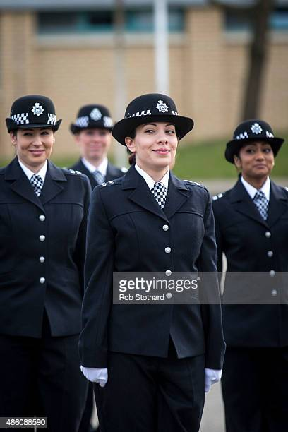 New recruits to the Metropolitan Police Service take part in their 'Passing Out Parade' at Hendon Training Centre on March 13 2015 in London England...