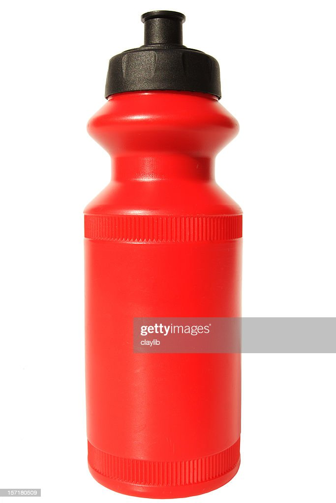 new red water bottle : Stock Photo
