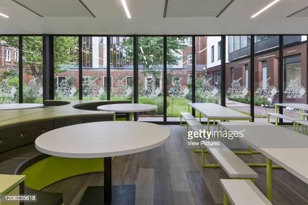 New refectory with view towards courtyard garden Thomas's Battersea London United Kingdom Architect Hugh Broughton Architects Limited 2017