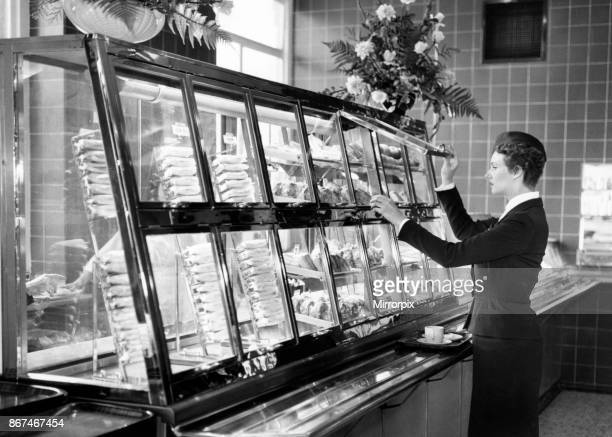 New refrigerated self service snack bar at St Pancreas Station, London, 15th October 1959. Called The Midland, it is the first of many new style...