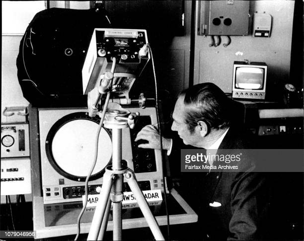 New regional office Bureau of Meteorology Goulburn St CityThe Regional Director for NSW VJ Bahr checking the Marconi SNW51 Radar which can detect...