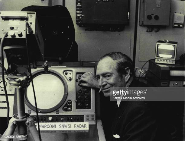 New regional office Bureau of Meteorology Goulburn St CityThe Regional Director for NSW Mr VH Bahr checking the Marconi SNW 51 Radar which can detect...