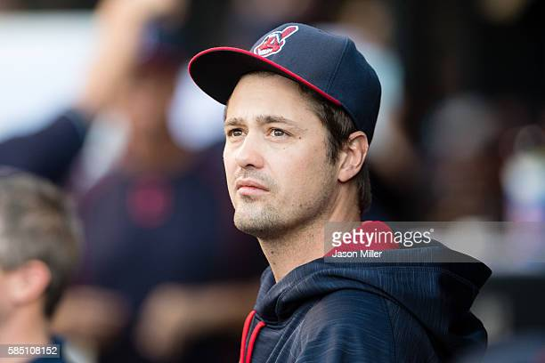 New relief pitcher Andrew Miller of the Cleveland Indians watches from the dugout prior to the game against the Minnesota Twins at Progressive Field...