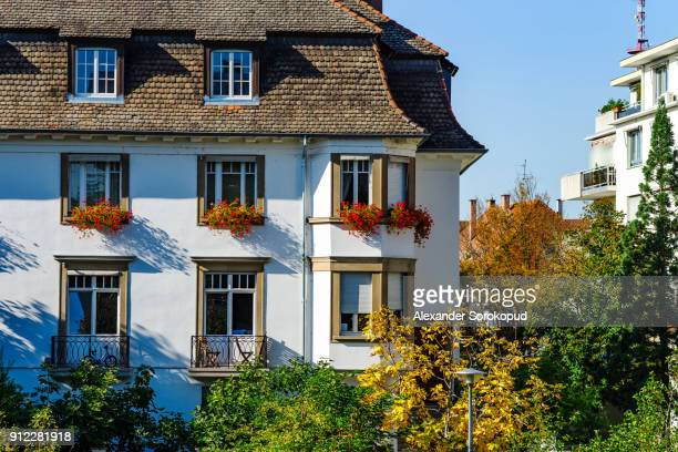 New renovated pvc windows in old historical house, Strasbourg, France