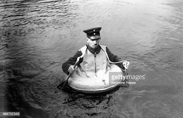 A new rescue equipment composed of small paddles and a buoy has been designed for the German firefighters circa 1920 in Berlin Germany