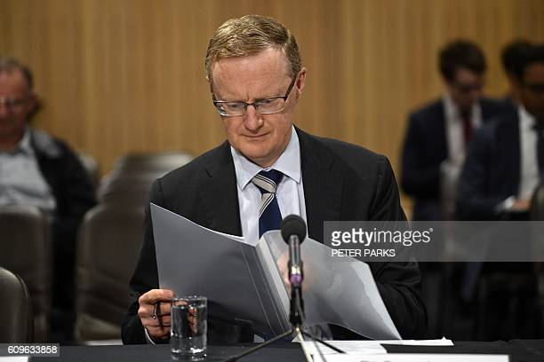 New Reserve Bank of Australia Governor Philip Lowe arrives for a parliamentary economics committee hearing in Sydney on September 22 2016 Lowe said...