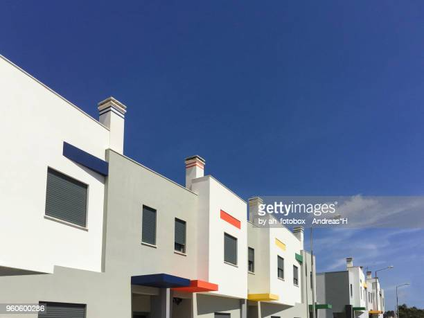 new residential buildings, modern detached houses in europe - europa meridionale foto e immagini stock