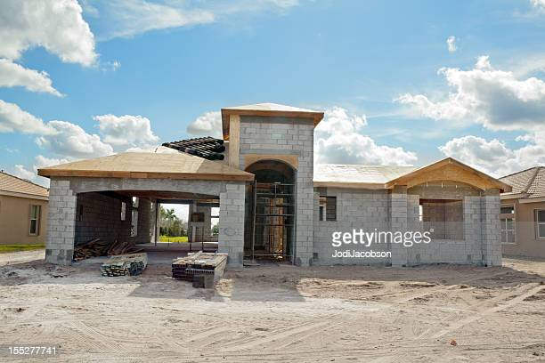 new residential construction front of house series - rebuilding stock pictures, royalty-free photos & images