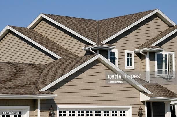 New Residential House; Architectural Asphalt Shingle Gable Roof, Vinyl Siding