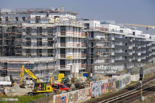 New residential houses are being built on a construction site on Yorckstrasse on April 16 2019 in Berlin Germany