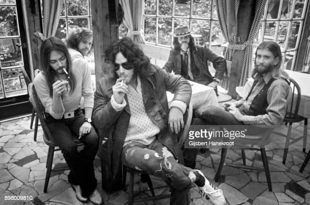 New Riders Of The Purple Sage group portrait Netherlands circa 1972 LR Buddy Cage David Nelson Dave Torbert Spencer Dryden John Dawson