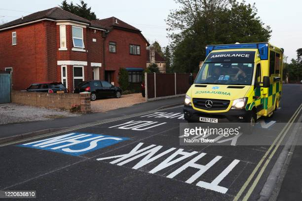 A new road marking is seen outside the Southampton General Hospital saying Thank You NHS painted by the highway agency in honor of the key workers as...