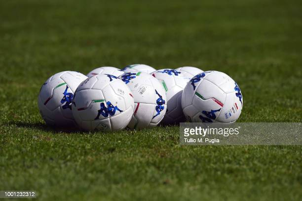 New Robe di Kappa Serie B ball lie on the pitch during a US Citta' di Palermo training session at the US Citta' di Palermo training camp on July 16...