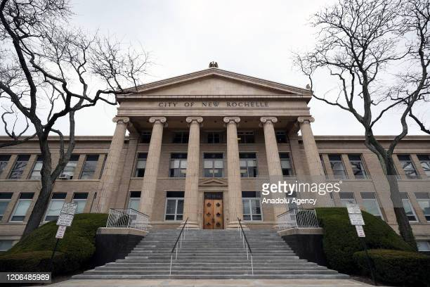 New Rochelle City Hall is seen in New York United States on March 10 2020 Westchester County in New York will be placed under containment after...