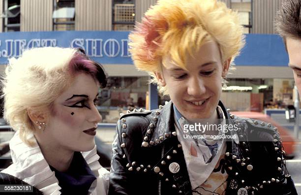 A New Romantic girl and punk guy Kings Road London UK 1980's