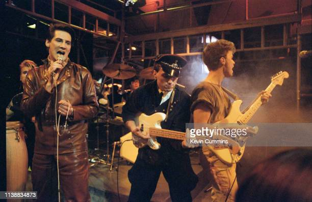 New Romantic pop group Spandau Ballet performing on the BBC TV music programme, 'The Oxford Road Show', Manchester, 8th January 1982. Left to right:...