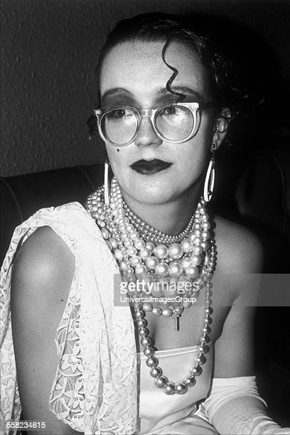 New romantic woman wearing pearls and glasses at The Blitz club London UK 1979