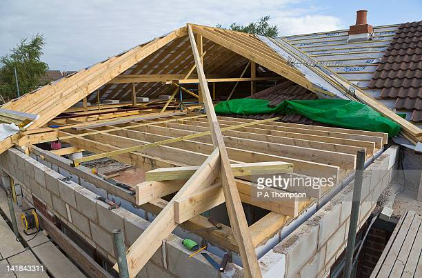 new roof being built for a house extension pr - roof stock pictures, royalty-free photos & images