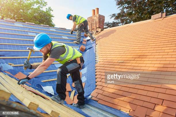 new roof installation - roof tile stock pictures, royalty-free photos & images