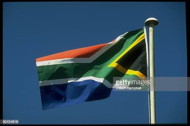 New S African flag of newly elected black majority govt led by ANC ldr Preselect Nelson Mandela flying in Johannesburg S Africa