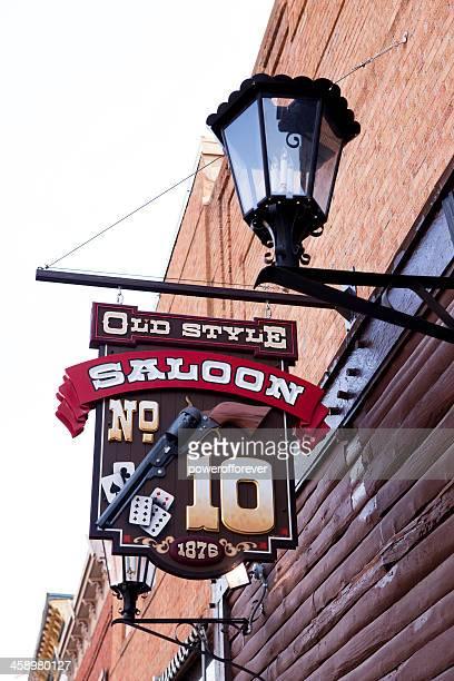 new saloon no.10 sign - deadwood, south dakota - deadwood south dakota stock pictures, royalty-free photos & images
