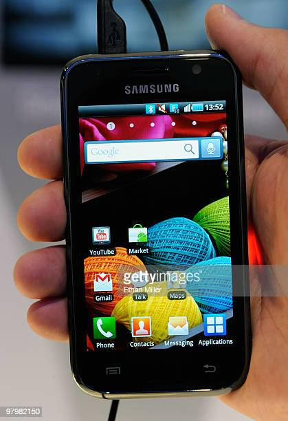 New Samsung Galaxy S Android smartphone is displayed at the International CTIA Wireless 2010 convention at the Las Vegas Convention Center March 23,...