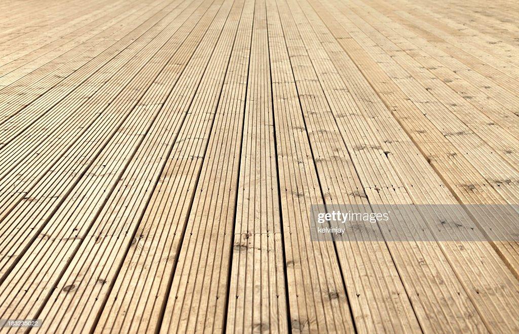 New sanded wooden garden decking : Stock Photo